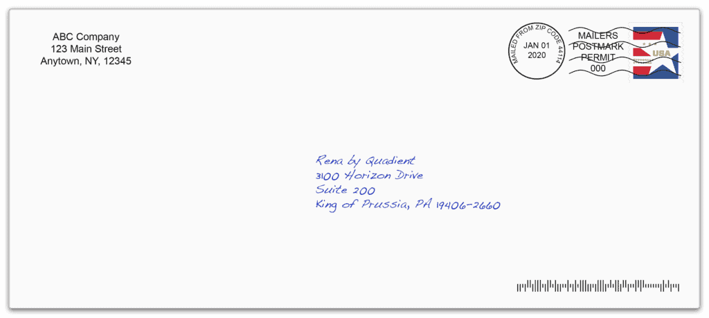 application example envelope handwritten address stamp cancellation marks