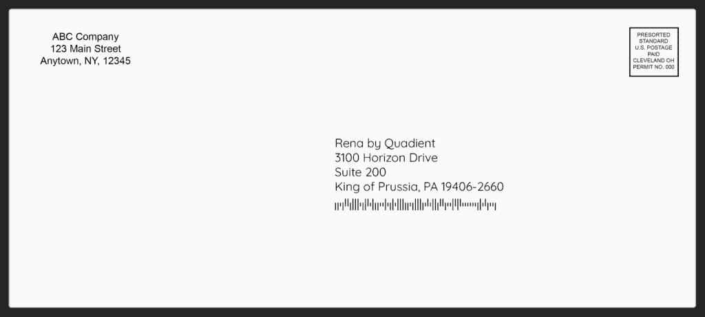 envelope with address block imb barcode return permit